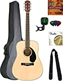 Fender CD-60S Solid Top Dreadnought Acoustic Guitar - Natural Bundle with Gig Bag, Tuner, Strap, Strings, Picks, Austin Bazaar Instructional DVD, and Polishing Cloth