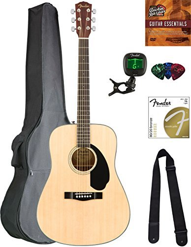 Fender CD-60S Solid Top Dreadnought Acoustic Guitar -...