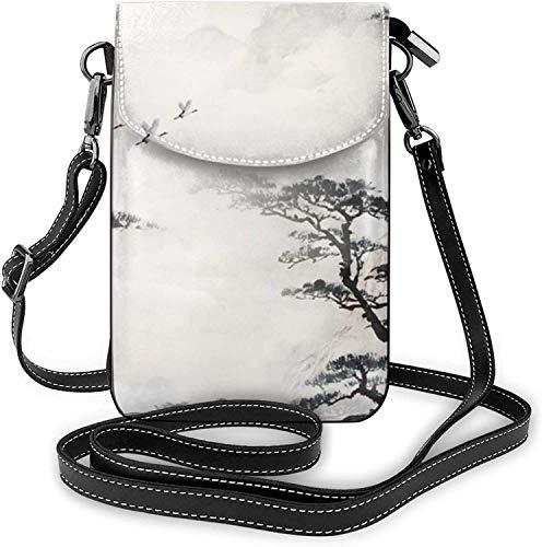 La moda del teléfono celular monedero de tinta árbol de montaña pequeño Crossbody bolsos mujeres niña pu bolso de hombro bolso