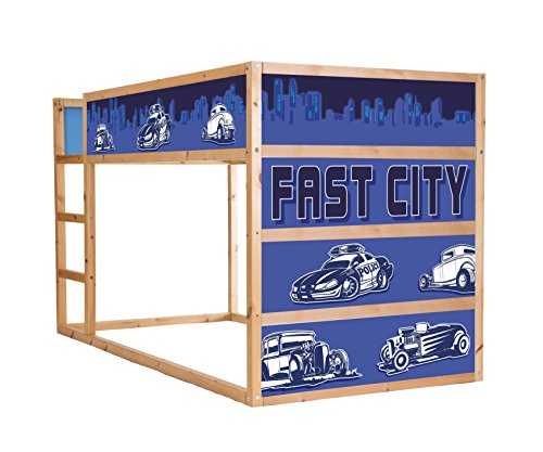 STIKKIPIX Fast City Cars möbelfolie självhäftande/klistermärken – IM203 – passar till barnens rum högsäng KURA från IKEA – möbler ingår inte