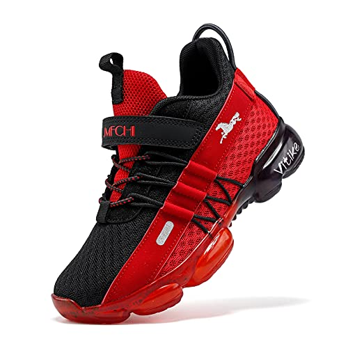 Breathable-Lightweight Slip-on Outdoor-Indoor Mesh-Boys Tennis Shoes Kids Trail Running Shoe for School Girls Athletic Sneakers Sports Fitness Black Red Size 3