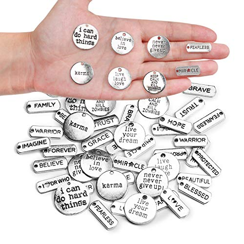 Aokbean 48pcs Inspirational Word Charms Pendant Beads Letter Charms for Christmas Gift Necklace Bracelets Jewelry Making Sayings Charms Supplies