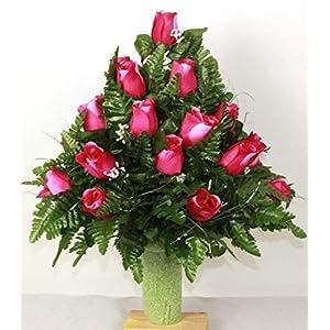 XL Hot Pink Roses Artificial Silk Flower Cemetery Bouquet Vase Arrangement