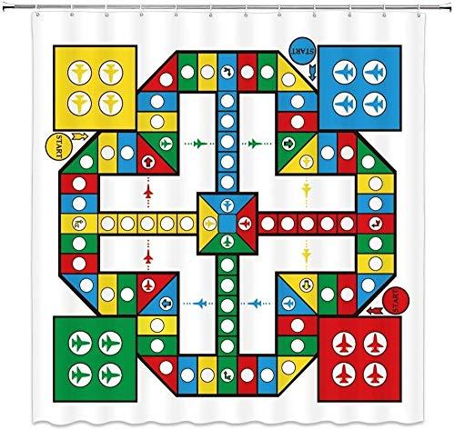 QAZX Cortina de Ducha para niños Tablero de ajedrez Volador Colorido Decoración de avión de Dibujos Animados Cortinas de baño de Tela 180x180cm Poliéster Impermeable con Ganchos