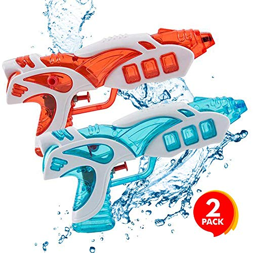 ArtCreativity Galactic Water Squirt Guns for Kids, Toddlers and Adults, Set of 2, 8.5 Inch Blaster Toys for Swimming Pool, Beach and Outdoor Summer Fun, Cool Birthday Party Favors for Boys and Girls
