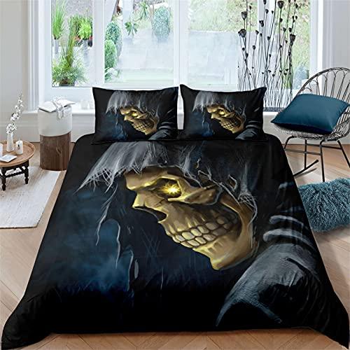 Juego de ropa de cama, diseño de cráneo, funda nórdica para niños, funda de cama de Halloween, fácil cuidado, funda de edredón de regalo (cráneo 3, 220 x 240 cm + 80 x 80 cm x 2)
