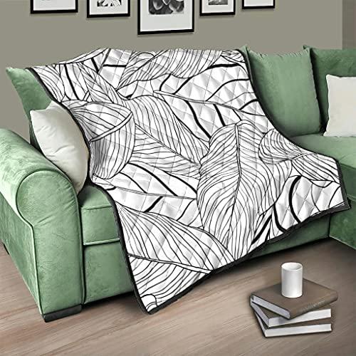 Flowerhome Colcha tropical con hojas de plátano, colcha para cama, sofá, cama, cama, cama, color blanco, 100 x 150 cm