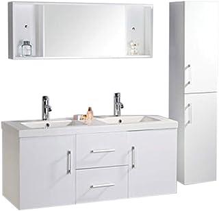 RO SRL Meuble Salle DE Bain Model White Malibu 120 Cm Double Vasque