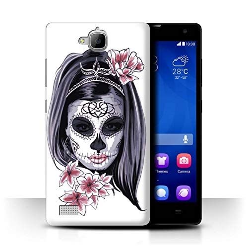 Stuff4 Hülle/Hülle für Huawei Honor 3C / Skelett Blume Skizzieren Muster/Tag Der Toten Festival Kollektion