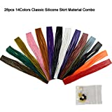 Riverruns Fishing Jig Lures Mixed Colors DIY Silicone Skirts for Jig Lures, Regular Skirt Collars Included Fly Tying Material (A: 28pc Classic Silicone Skirt Material Combo)