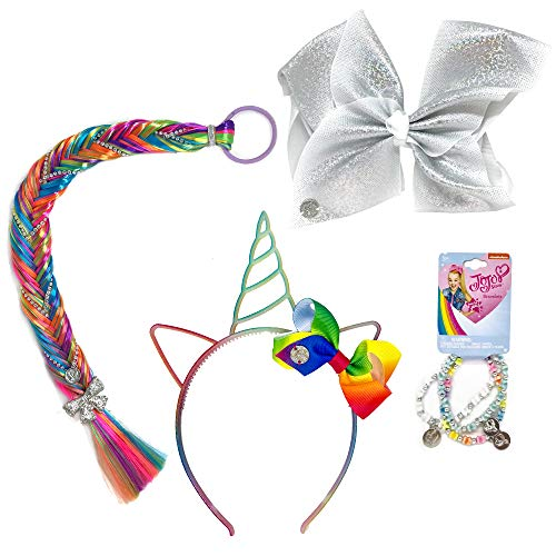 Jojo Siwa Girls Accessory Set, Bow Headband 3 Pack Bracelet and Colorful Hair Braid Tie - Silver Rainbow