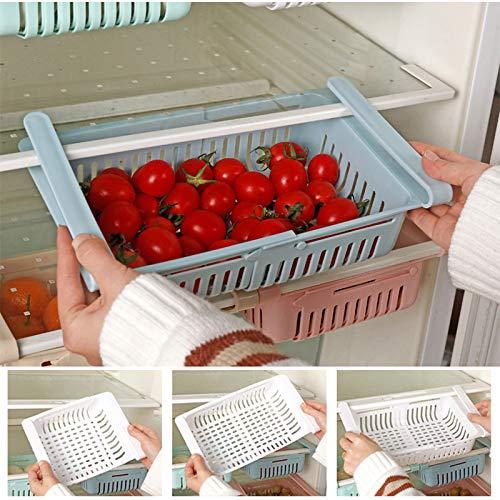 EVERBUY Pack of 4 - Retractable Drawer Organiser, Fridge Storage Rack Fridge Shelf Holder Kitchen...