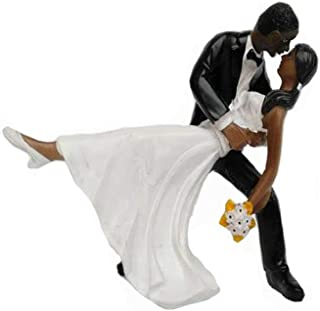 Glitterymall Tango Love A Romantic Dip Dancing African American Couple Cake Topper Figurine Wedding Tower for Proposal Wedding Engagement Bridal Shower Wedding Anniversary Decorating