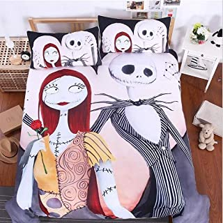 Sharper Glory Nightmare Before Christmas Linen Duvet Cover Set Soft Breathable Cover Set Bedding Sets(1 Duvet Cover + 2 Pillow Shams) no Comforter (Queen)