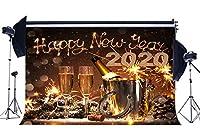 NiuXphoto ハッピーイヤー 2019 バックドロップ 10X8FT シャンパン ラッキーウィッシュ 馬蹄 ワイン バケツ ボケ スパンコール クリスマス ビニール 背景幕 写真 背景 記念年 イブ フォトスタジオ 小道具 LL67