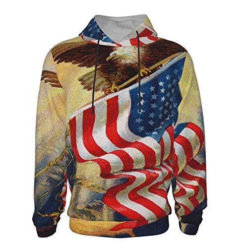 Sudadera con capucha de manga larga con diseo de bandera americana y pistola, suave, unisex, con bolsillo frontal