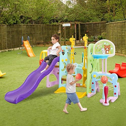 ZhiLoeng 6 in 1 Slide and Swing Set for Toddlers, Slide Swing Playset w/Basketball Hoop, Easy Setup Backyard Kids Activity (Multicolor)
