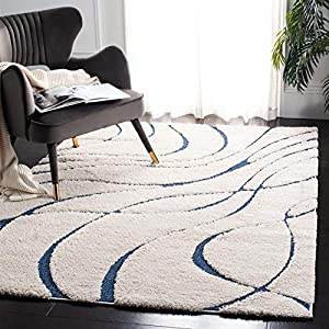 Safavieh Florida Shag Collection SG471 Abstract Wave 1.2-inch Thick Area Rug, 8′ x 10′, Cream / Blue
