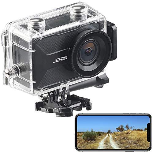 Somikon Helmkamera: 4K-Action-Cam mit GPS und WLAN, Unterwasser-Gehäuse mit IPX8 (Helmcamera)