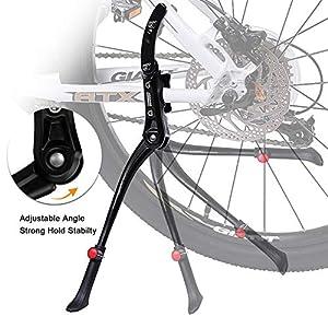 """otutun Pata de Cabra para Bicicleta,Caballete Lateral Bicicleta de Altura Ajustable 24""""- 29"""",Aluminio Soporte de Bici Caballete con pie de Goma Antideslizante,Bicicleta de Montaña,Bicicletas Plegable"""