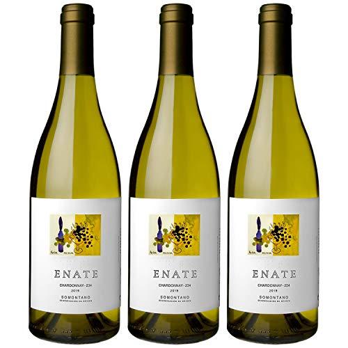 ENATE Chardonnay - 234 - Añada 2019 - D.O Somontano - Vino Blanco - Afrutado: Melocotón, Guayaba, Maracuyá, Almibarado - Notas de Hinojo - Fondo Mineral - Pack de 3 Botellas - 75cl