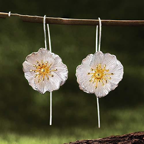 AdronQ 925 Silber 18 Karat Gold handgefertigter feiner Schmuck Niedliche blühende Mohnblumen Blume baumeln Ohrringe für