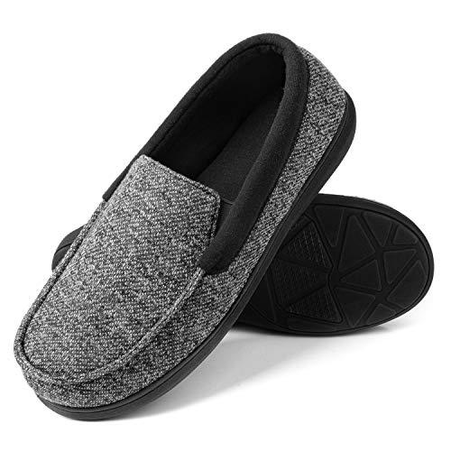 RockDove Men's Moc Slipper with SILVADUR Anti-Odor Protection, Size 10 US Men, Black