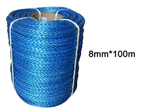 MING-BIN Cabrestantes de Remolque de Cuerda de cabrestante Cuerda de Fibra del cabrestante sintético de 8 mm x 100M para 4WD 4x4 ATV UTV Recuperación de la embarcación Offroad (Color Name : Red)
