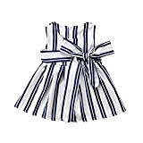 Summer Toddler Kids Baby Girls Stripe Backless Sleeveless Dress Party Pageant Dress Clothes Casual Mini Dress Baby Girl 1-5T White 5T