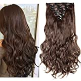 24' Extension A Clip Cheveux Synthétique - Brun Moyen - 8 Bandes Faux Cheveux Ondulé Full Head Clip In Hair Extension