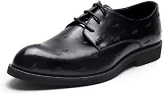 SHENTIANWEI Formal Dress Business Oxfords for Men Modern Pattern Embroidery Shoes Lace up Microfiber Leather Pointed Toe Solid Color Wear-Resistant (Color : Black, Size : 8 UK)