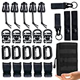 "MWZTECH Kit of 25 Attachments for Molle Backpack, Molle Accessories Kit for 1"" Webbing Strap Tactical Backpack,D-Ring Grimloc Locking Gear Clip,Web Dominator Elastic String"