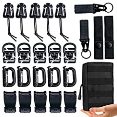 🏂【Kit of 25 Molle Bag Attachments】5 x D-ring grimloc locking clip,5 x Web Dominator Elastic Strings,5 x Web joint buckles,5 x Tactical 360 Rotation D-Ring Clips,2 x MOD straps,2 x Webbing key rings,1 x molle pouch. 🏂【PRACTICAL TOOL】These attachments ...