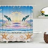 KONZFZ Duschvorhangschöne Delphin-Karikaturen-Duschvorhänge wasserdichter Badezimmer-Vorhang 3D Marineleben mit Haken große Größe 240 * 180cm Bad-Display