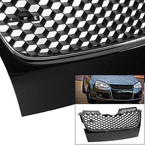 Badgeless Black w/Chrome Honeycomb Mesh Grill Fits VW Jetta GTI MK5 06 07 08 09