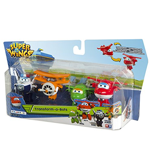 Super Wings - Lote 4 personajes transformables: Jett, Mira, Paul y Grand Albert (Colorbaby 75866)