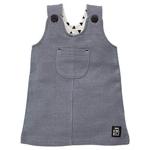 Pinokio - Happy Day – Robe pour bébé 100 % coton, gris avec boutons, sans manches avec poche pour fille - Gris - 9 mois
