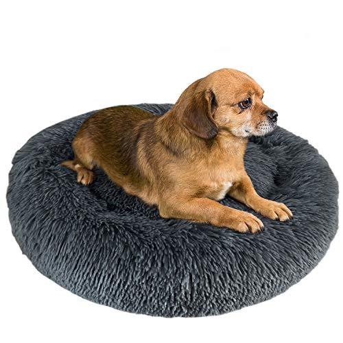 Granbest Luxus Plüsch Hundebett Katzenbett Rund Hundekissen Super Weich Doughnut-Form Haustierbett für kleine mittelgroße Hunde Kunstpelz Haustierbett Maschinenwaschbar (50cm, Grau)