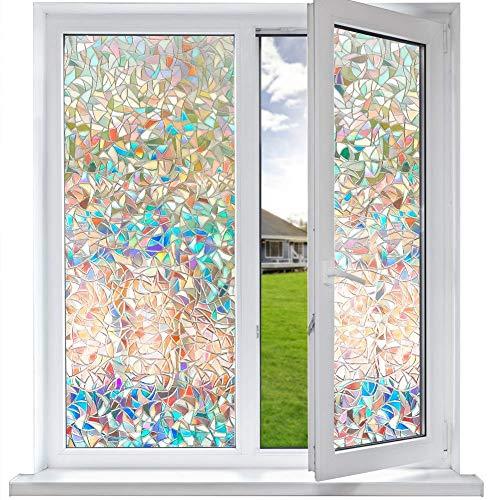 Funfox 3D Fensterfolie Sichtschutzfolie Milchglasfolie Selbstklebend Blickdicht Fenster Scheibenfolie Anti-UV Statische Folie Regenbogen Dekorfolie 44.5 x 200cm