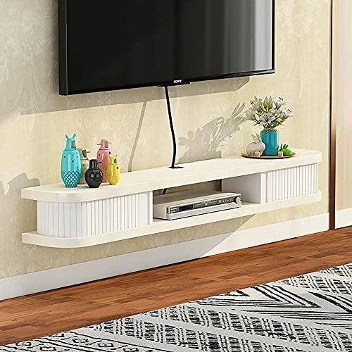 Mobile TV Sospeso,Mobile Porta TV Sospeso Legno Massello,Mobile Basso per TV Set-Top Box Rack Router Wi-Fi Rack per Soggiorno Camera da Letto/C / 140CM