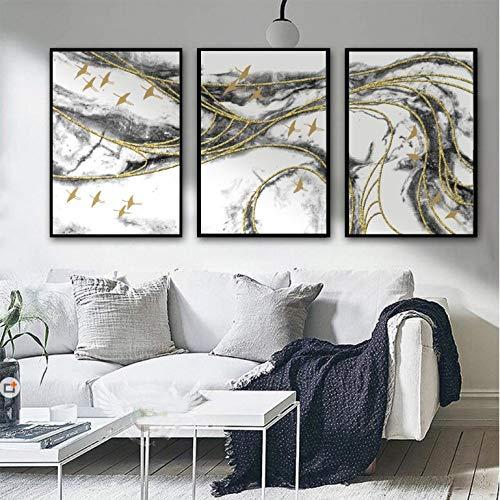Zhuhuimin Vogel New China abstracte zwarte kunst landschap decoratie woonkamer muurkunst canvas afbeelding zonder lijst 40x60cmx3pcs 3 stuks.