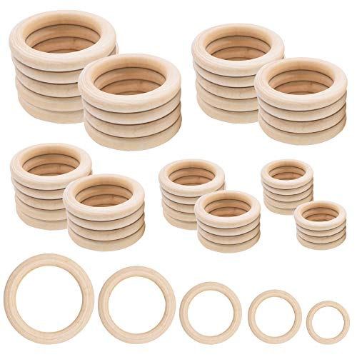 Anillos de madera, 50 unidades de anillos de madera natural para manualidades, 5 tamaños, anillos redondos para manualidades, joyas, hallazgos de macramé (35 mm, 40 mm, 45 mm, 50 mm, 55 mm)