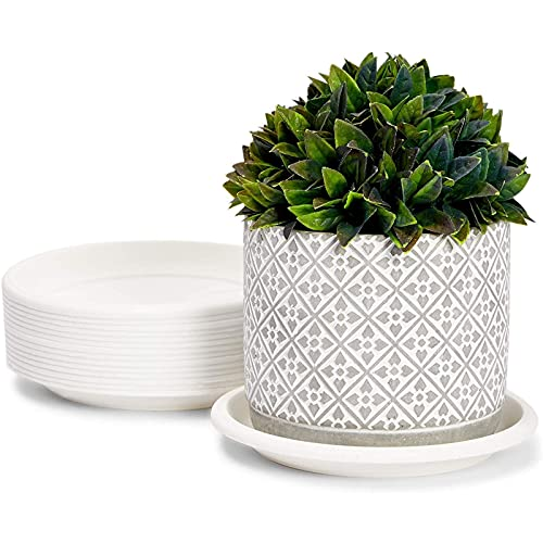 Farmlyn Creek Round Planter Pot Saucers, White Drip Trays for Indoor & Outdoor Plants (6 in, 15 Pack)