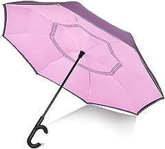 Sumeber 逆さ傘 長傘 ダブルキャノピー 高強度グラスファイバー 濡れない UVカット 耐風 撥水 遮光 遮熱 車用 c型手元 (ピンクの色)