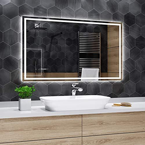Alasta Atlanta Espejo - 100x80cm Espejo de baño con iluminación LED - Bianco Firo LED