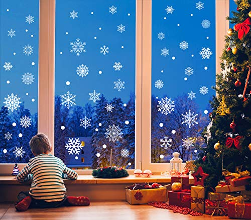 273pcs Christmas Snowflake Window Clings Decals White Snowflakes Stickers Decorations for Holiday Celebration Merry Christmas Winter Frozen Theme Party Snow Ornaments Supplies