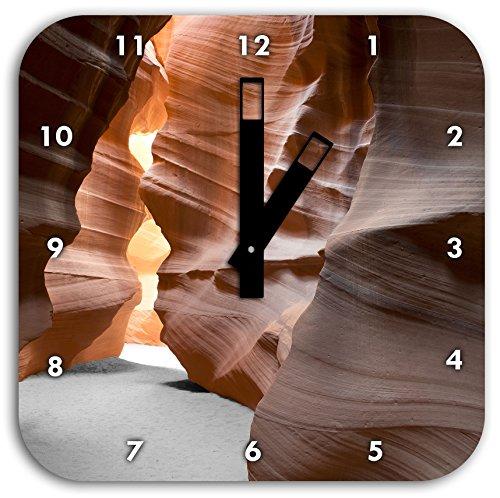 Stil.Zeit Durchgang im Antelope Canyon schwarz/weiß, Wanduhr Quadratisch Durchmesser 28cm mit schwarzen eckigen Zeigern und Ziffernblatt