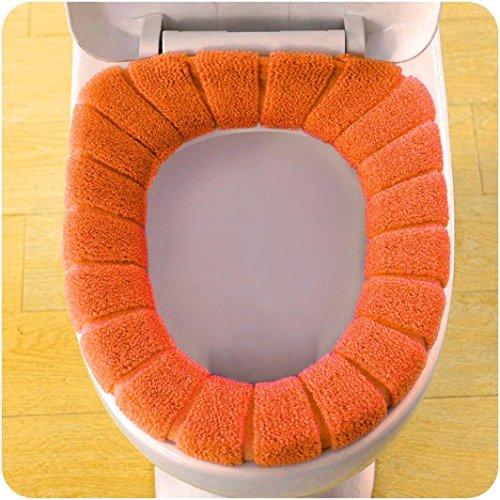 SUJING Soft Washable Toilet Seat Cover Pads Toilet Warmer Mat Cover Pad Cushion Bathroom Toilet Seat Cushion (Orange)