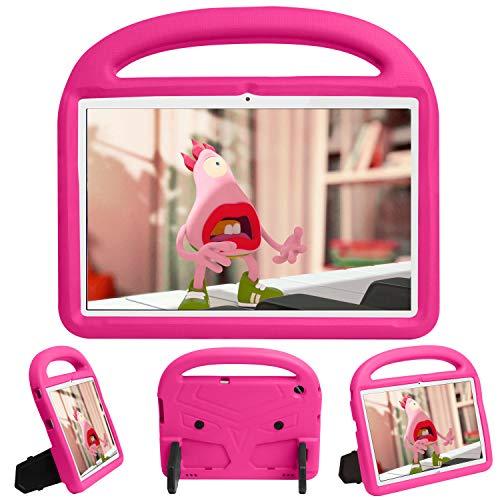 QYiD Funda Infantil paraHuawei MediaPad T3 8.0, Funda Protectora a Prueba de Golpes con Mango Ligero, Carcasa para niño para Huawei MediaPad T3 8.0 Pulgadas, RoseRojo