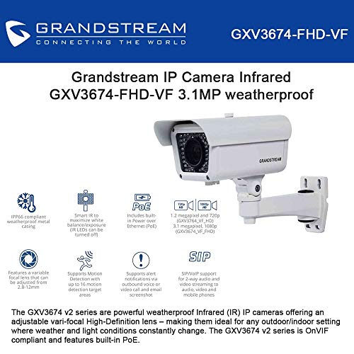 GrandStream GXV3674-FHD-VF HD Outdoor Day Night Infrared IP Security Camera